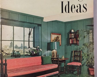 1951 Home Furnishing Ideas magazine 200 pages furniture kitchen plans, luving room furniture Fifties decor