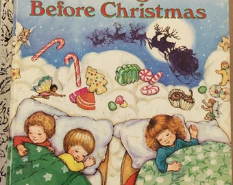 Night Before Christmas Clement Moore Little Golden Book 1987 illustrated Kathy Wilburn children reading book collection classic story illust