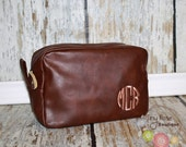 Personalized Monogrammed Men's Brown Shave Bag, Dopp Kit, Toiletry Travel Case - Groomsmen, Wedding, Birthday, Graduation, Father's Day Gift