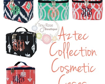 Aztec Collection Cosmetic Case, Toiletry Bag, Makeup Bag - Monogram Included
