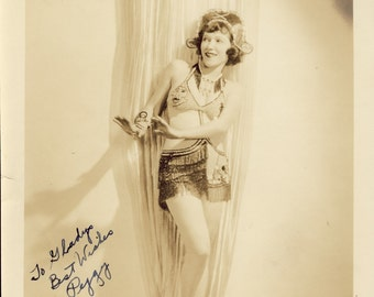 Pretty Young Woman In Unusual RISQUE VAUDEVILLE DRESS Theatrical Pose Photo Circa 1920