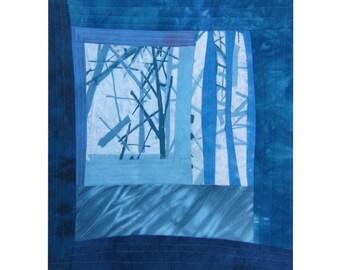 Fiber Art Wall Hanging - Blue - Fiber Art - Snowy Evening 2