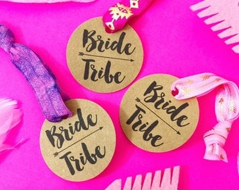 Single Set 1 card Hair Ties Bachelorette Party Favors KIT Round Tag Bride Tribe and Brides Squad kit style - tie your own