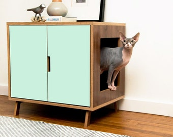 High Quality Mid Century Modern Cat Litter Box Furniture | LARGE Cat Litter Box Cover |  Pet House