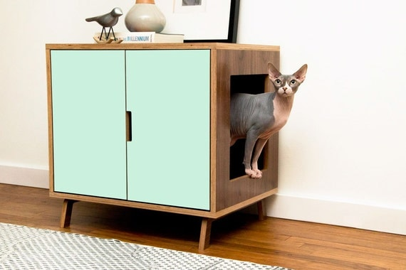 innovative modern cat furniture | Mid Century Modern Cat Litter Box Furniture LARGE Cat Litter