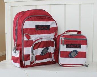 Sold as SET: Large Backpack and Matching Lunch Bag Pottery Barn Fairfax -- Red/White Stripe With Football Patch