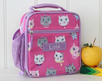 Lunch Bag With Monogram Classic Style Pottery Barn --Pink/Lavender Kitty