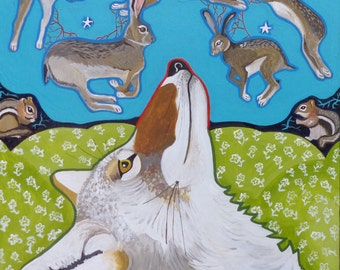 Coyote Dreams Original Whimsical Painting