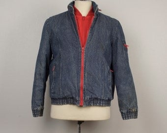 80s Vintage striped denim Bomber Jacket Red lined Cropped Puffy Jacket 44 chest