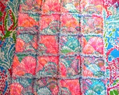 Lilly Pulitzer Oh Shello....Baby Rag Quilt Bedding NEW