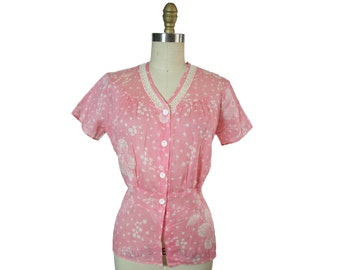 1950s Cotton Floral Blouse in Pink and White, M/L