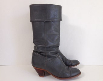 Vintage Gray Frye Boots Leather Slouchy Fold Over Cuffs, Almost Knee High 6.5