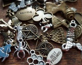 Charm and Bead Mix, 50 Charms, Mixed, Silver and Bronze Tone, UK Seller, random mix, bargain price while stocks last