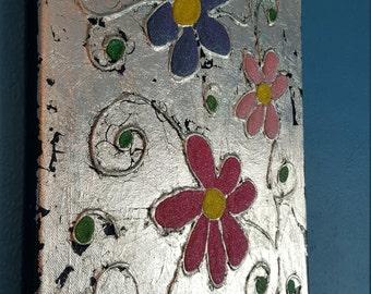 Mixed media Flower Canvas, Silver Leaf, Glitter, Acrylic, Fun, Colourful, Modern Art
