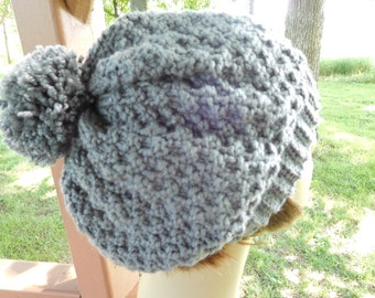 Knitted Slightly Slouchy Beanie in Pewter Grey  with Pompom