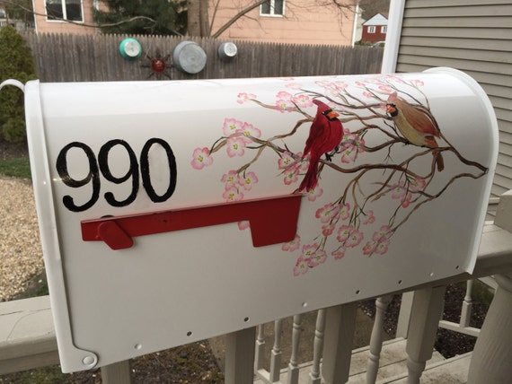 Dogwood branch and Cardinals hand painted mail box design custom