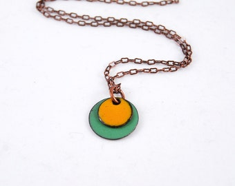 Layered Bright Orange and Teal Green Enamel Pendant Circle Necklace