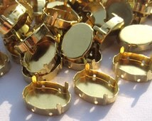 18pcs Oval Brass Bezels w/ 4 Prongs 4 Holes Aside Cabochon Tray t072
