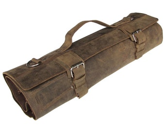 Leather Knife Roll with Fasteners, Leather Chefs Bag, Knife Case, Chef Bag, Knife Bag, Chef's Roll - Tuareg X - Silver Buckle