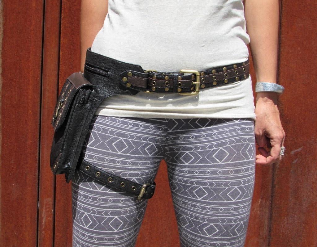 leather leg holster thigh bag leather utility belt steampunk. Black Bedroom Furniture Sets. Home Design Ideas