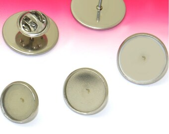 40 Sets Round Tie Tacks- Stainless Steel Tie Tack Clutch W/ 12mm/ 14mm/ 16mm/ 18mm/ 20mm Round Bezel Setting Wholesale