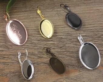 40 Earrings- Brass Silver/ Gold/ Rose Gold/ White Gold/ Gun-Metal Plated Lever-Back Ear Wire W/ 13x18mm/ 18x25mm Oval Bezel Setting- Z7512