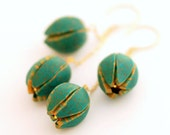 Long chain earrings - emerald green gold tulip flowers pair in extra long gold plate chain