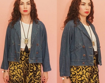 90s Denim Jacket // Cropped Jacket // Jean Jacket // Boxy Jacket // Light Weight Jacket // Vintage