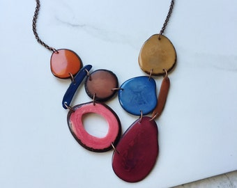 Tagua nut jewelry. Maroon blue coral necklace. Cranberry tan orange Necklace. Sky blue. READY TO SHIP Jewelry. Mixed colors statement.