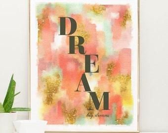 Dream big little one, Nursery wall art girl, Pink and Gold Nursery Decor, pink watercolor painting, watercolor nursery art
