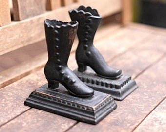 Cast Iron Bookends Boot Vintage