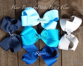 Blue Hair Bow | Navy Hair Bow | Silver Hair Bow Barette Bow | Clip Bow