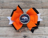 Broncos....Double layer bow...Colors Orange and Navy...Football
