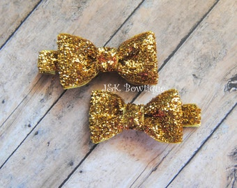 Gold glitter small hair bows, hair bow set, hair clips, baby bows, tiny bows, bow clip sets, clips sets