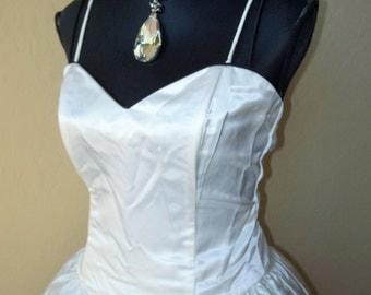 Vintage 1980s Jessica McClintock B&W Satin Party Dress Sz 11/12