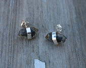 Tibetan Black Quartz Point Banded Sterling Silver Studs Earrings