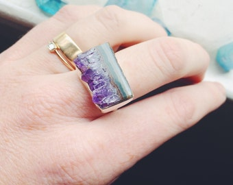 Amethyst Stalactite Druzy Slice Sterling Silver Crystal Ring - size 6