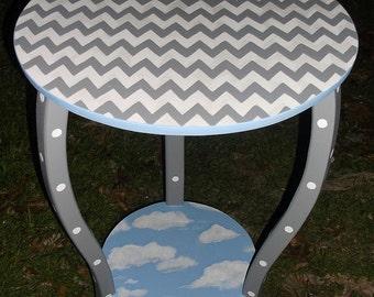 Clouds, Bedroom, Table, Nightstand, Nursery Tables, Vanities, Blue Clouds Gray Chevron Custom Round NURSEY Table Side Table
