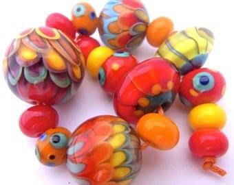 Summer Mix - Handmade Lampwork Bead Set (17) by Anne Schelling, SRA
