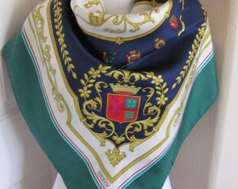 "ERRE // Green Blue White Gold Italy Silk Scarf  // 34"" Inch 88cm Square"