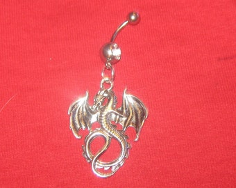 Handcrafted Antique Silver Dragon Belly Ring 14 gauge CZ Belly Ring