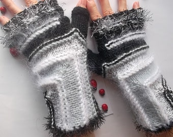 HAND KNITTED GLOVES / Women Accessories Fingerless Mittens Elegant Warm Wrist Warmers  Crochet Winter Arm Romantic Striped Gift Feminine 985