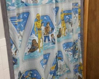 Vintage Star Wars fabric shower curtain