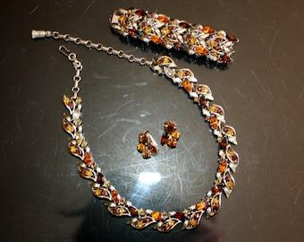 Francois Coro  Parure Set Topaz Rhinestones Necklace Bracelet Bonus Earrings