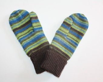 Vintage Mittens Hand Knitted Wool Stripes Green Brown Blue