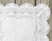 Fancy Vintage White Lace Hankie Hanky Bridal Handkerchief Hankie Ivory White Wedding Handkerchief
