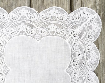 Fancy Vintage White Lace Hankie Hanky Bridal Handkerchief Hankie Ivory White Wedding Handkerchief