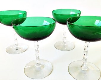 Vintage Champagne Glasses Coupe Champagne Green Stemware Tall Champagne Coupes Fostoria Westchester