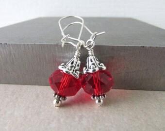 Siam Earrings, Beaded Earrings, Rondelles Earrings, Custom Earrings, Birthstone Earrings, July Birthday Gift, Free US Shipping