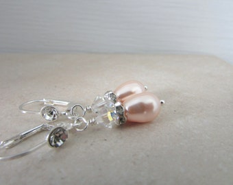 Rose Peach Earrings, Swarovski Earrings, Pearl Earrings, Wedding Earrings, Bridesmaid Earrings, Wedding Jewelry, Free US Shipping